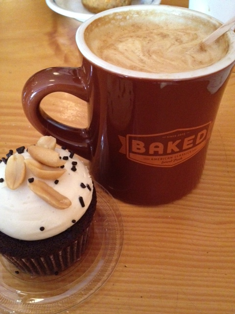 salted caramel cupcake at Baked and a latte